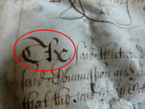 Detail of the ink used for writing
