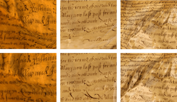Sections of text before and after the local flattening procedure