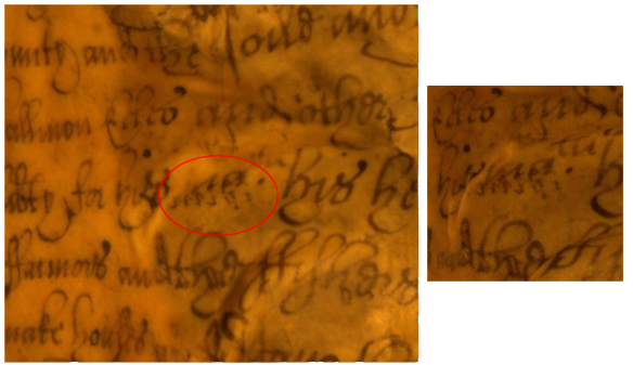 Left: A region of a reconstruction of a page, containing a suspect marking which looks like it might have been introduced by an error in the reconstruction process. Right: One of the original photographs, looking at the same region of the page. We can see that the marking is in fact present on the page.